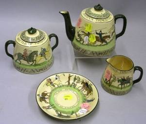 ThreePiece Royal Doulton Series Ware Hastings Bayeux Tapestry Tea Set and a Saucer