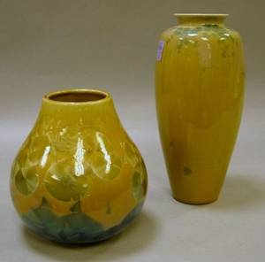Two Contemporary Crystalline Glazed Ceramic Vases