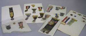 Group of Veteran and Fraternal Order Medals Badges Pins and Tie Tacks