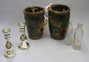 Two Paint Decorated Safford 1807 Leather Fire Buckets a Pair of Mercury Glass Candlesticks and Two Colorless Molded Glass Figural Bott
