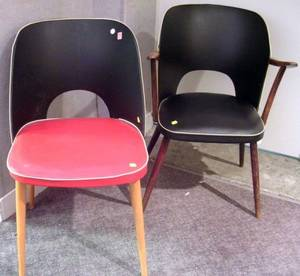 European MidCentury Modern Armchair and Side Chair