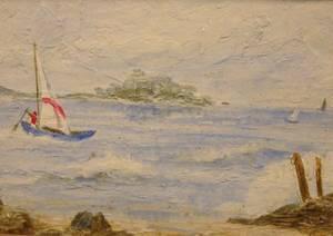 Framed Oil of a Sailboat in a Sheltered Harbor