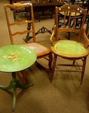 Renaissance Revival Walnut and Caned Kitchen Chair a 1940s Green Painted and Floral Decorated Tripod Stand and a Rococostyle Rocker