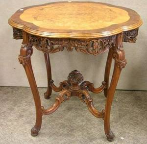Rococostyle Exotic Wood Inlaid Carved Mahogany Occasional Table
