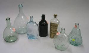 Seven Glass Bottles and Flasks