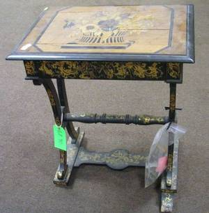 English Marquetry Parcelgilt and Black Lacquered OneDrawer Sewing Table