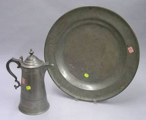 Calder Pewter Lighthouse Coffeepot and an English Pewter Charger