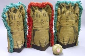 Set of Three Carnival Fringed and Painted Canvas Cat Knockdown Figures and a Ball