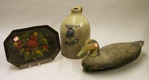 Painted Cork and Wooden Duck Decoy a Tole Tray and a Cobalt Floral Decorated Stoneware Jug