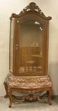 Modern Baroquestyle Glazed Carved Hardwood Display Cabinet
