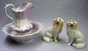 Pair of Staffordshire King Charles Spaniels and a W  C Magenta and White Mesina Pattern Chamber Basin and Pitcher