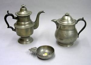 Putnam Pewter Teapot a Pewter Covered Pitcher and a TD  SB Pewter Porringer