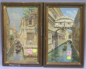 Pair of Gilt Gesso Framed Watercolor Venetian Canal Views