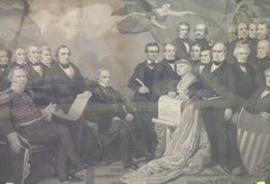 Framed Mechanical Print of the Signing of the Constitution