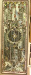 Victorian Jeweled Leaded Slag Glass Architectural Window Panel