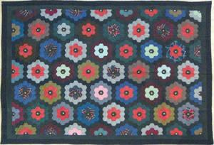 Pieced grandmas flower garden quilt ca 1900