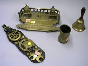 Gothic Revival Cast Brass Inkstand a Hand Bell Leather Strap of Three Horse Brasses and a Japanese Mixed Metal Brush Pot