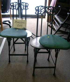Set of Four Art Deco Cast Iron and Metal Folding Chairs