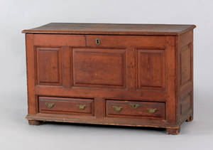 Mid Atlantic William  Mary yellow pine blanket chest ca 1735