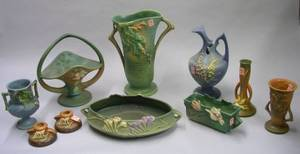 Ten Pieces of Roseville Pottery