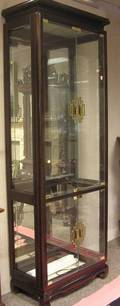 Asian Modern Glazed Ebonized Display Cabinet