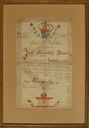 Rare Tioga County Pennsylvania ink and watercolor fraktur dated 1821