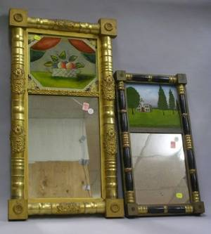 Giltwood Split Baluster Mirror with ReversePainted Basket of Fruit Tablet and an Ebonized and Partial Gilt Split Baluster Mirror with