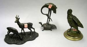 R Petko Patinated Bronze Deer Figural Group an Asian Bronze Crane on Mythical Turtle Figural Group and a Continental Cold Painted Me