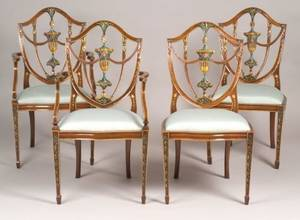 Set of Twelve Federalstyle Painted Carved Mahogany Shieldback Dining Chairs