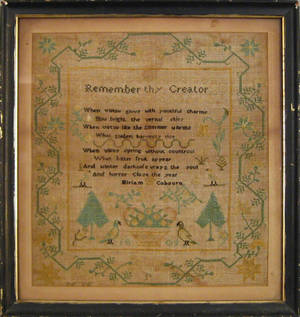 Silk on linen sampler dated 1809 and wrought by Miriam Cobourn