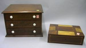 Small Eureka Walnut ThreeDrawer Retail Spool Chest and an Inlaid Exotic Wood Veneer Work Box