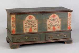 Pennsylvania painted poplar dower chest late 18th c
