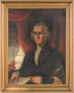 Pennsylvania oil on panel portrait of George Washington mid 19th c