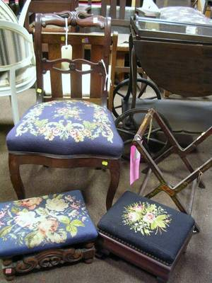 Needlepoint Upholstered Carved Oak Footstool Mahogany Footstool a Victorian Walnut Parlor Side Chair and a Paint Decorated Wooden Fo