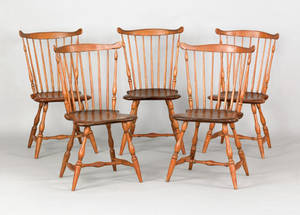 Set of five Pennsylvania fanback windsor side chairs ca 1795