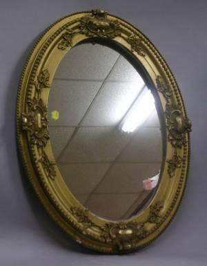 Oval Rococo Revival Gilt Gesso Mirror