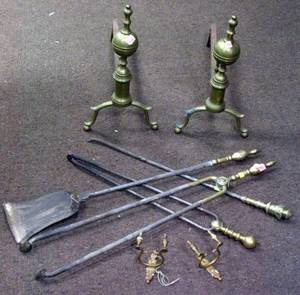 Pair of Brass Belted Balltop Andirons a Pair of Brass Jamb Hooks a Pair of Brass Belted Lemontop Hearth Tools and a Brass Ringturn