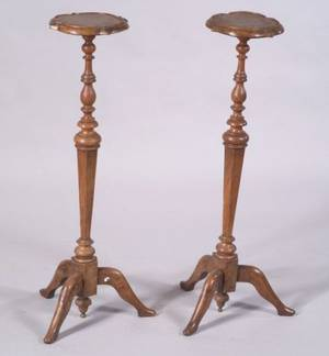 Pair of William and Mary Style Walnut and Burl Walnut Turned Candlestands