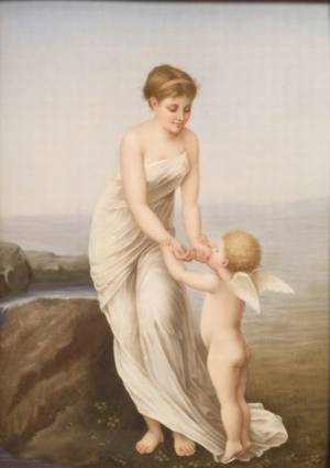 Berlin Painted Porcelain Plaque of Venus and Cupid