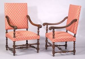 Pair of Flemish Baroquestyle Carved Walnut Open Armchairs