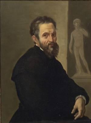Continental School 19th Century Portrait Probably of Michelangelo Buonarroti Before David