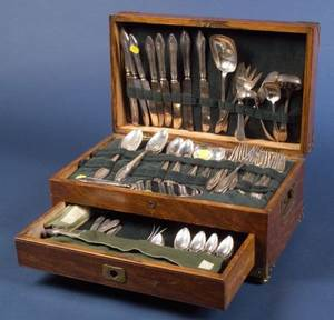 Towle Sterling Mary Chilton Flatware Service with Oak Chest