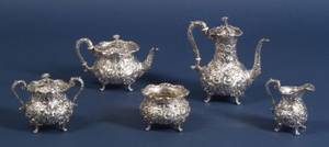 S Kirk  Son Inc Five Piece Sterling Repousse Tea and Coffee Service
