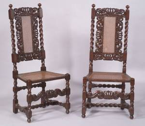 Pair of William and Mary Carved Oak Side Chairs