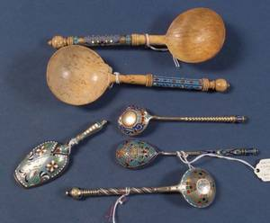 Eleven Russian Silver and Enamel Spoons