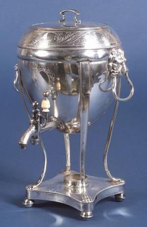 English Regency Silver Plate Hot Water Kettle