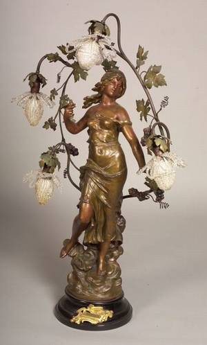 Art Nouveau Patinated White Metal Figural Lamp