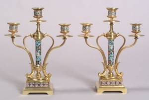 Pair of French Gilt Bronze and Champleve Enamel Three Light Candelabra