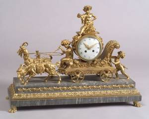 French Louis XVIstyle Gilt Bronze and Gray Marble Figural Mantel Clock