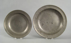 Two Hartford Connecticut pewter deep dishes ca 1835